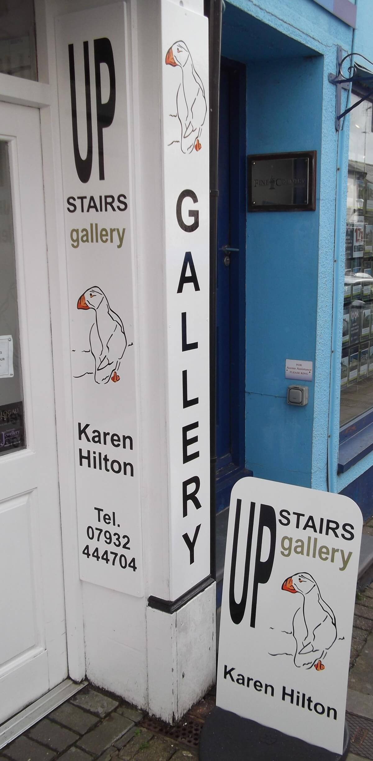 Narberth Signs for Up Stairs Gallery